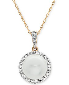 "Cultured Freshwater Pearl (8mm) & Diamond (1/8 ct. t.w.) 18"" Pendant Necklace in 10k Gold"