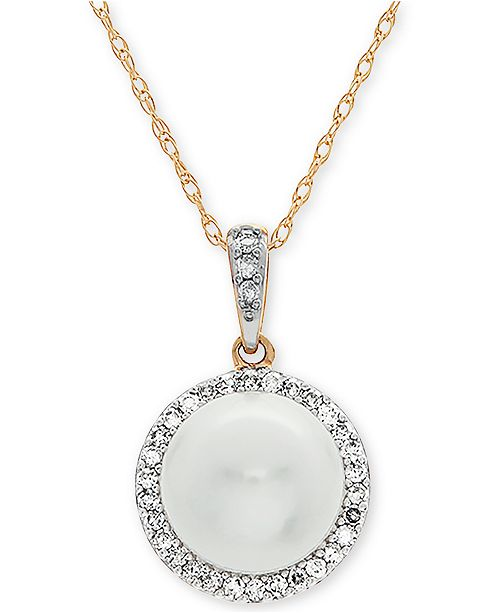 "Arabella Cultured Freshwater Pearl (8mm) & Diamond (1/8 ct. t.w.) 18"" Pendant Necklace in 10k Gold"