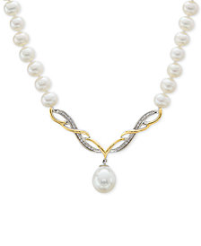 "Cultured Freshwater Pearl (5mm & 15mm) & Diamond Accent 17"" Collar Necklace in Sterling Silver & 14k Gold"