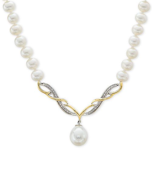 "Arabella Cultured Freshwater Pearl (5mm & 15mm) & Diamond Accent 17"" Collar Necklace in Sterling Silver & 14k Gold"