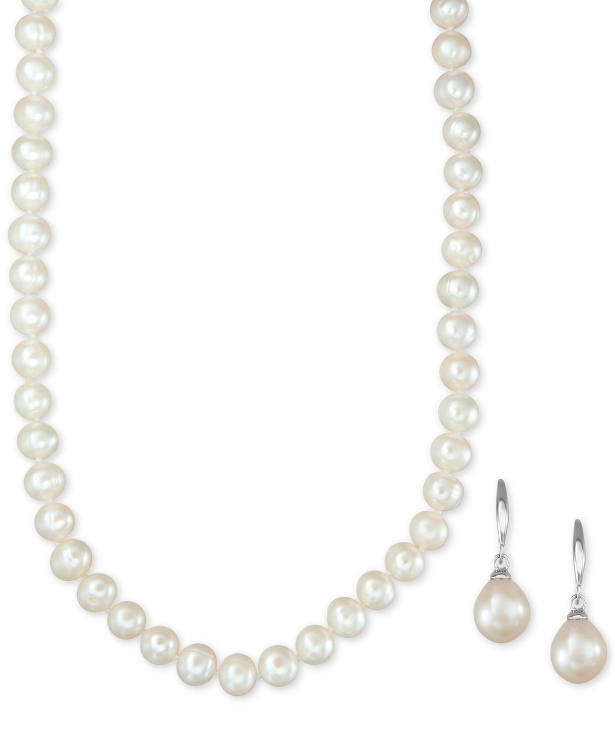 bcfdbd9994ca4f 09-04-2019 21:04:02 Macy's Cultured Freshwater Pearl Necklace (7-7 1/2mm)  and Drop Earrings (7x9mm) Set in Sterling Silver