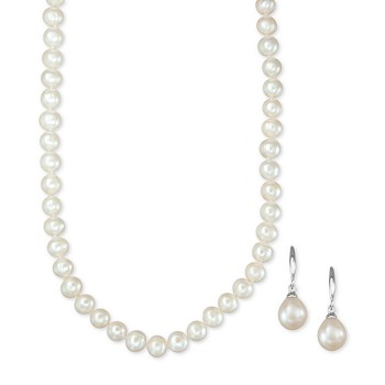 Macys Cultured Freshwater Pearl Necklace and Drop Earrings Set