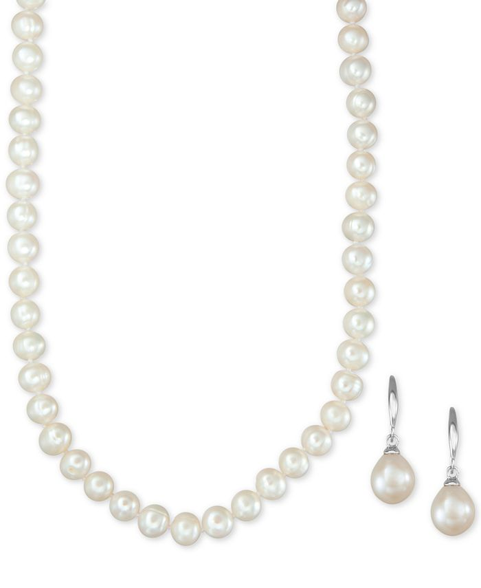 Macy's - Cultured Freshwater Pearl Necklace (7mm) and Drop Earrings (8mm) Set in Sterling Silver