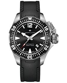 Men's Swiss Automatic Khaki Frogman Black Rubber Strap Watch 42mm
