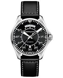 Men's Swiss Automatic Khaki Pilot Black Leather Strap Watch 42mm