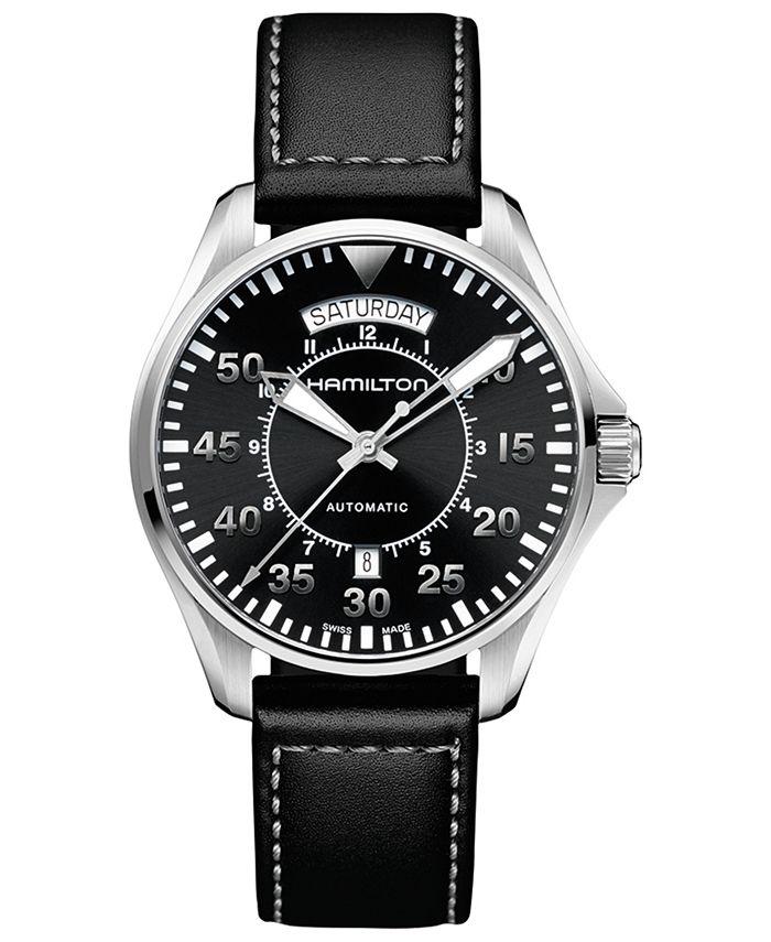 Hamilton - Men's Swiss Automatic Khaki Pilot Black Leather Strap Watch 42mm
