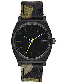 Nixon Time Teller Leather/Canvas Strap Watch 37mm