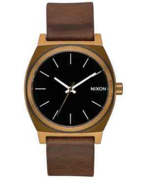 NIXON Time Teller Leather/Canvas Strap Watch 37Mm in Brown/Brass