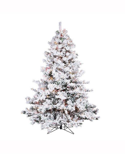 6.5 ft Flocked Alaskan Pine Artificial Christmas Tree With 700 Multi Lights - Vickerman 6.5 Ft Flocked Alaskan Pine Artificial Christmas Tree With