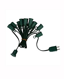 25' C7 Socket String With 25 C7 Sockets On Spt1 18 Gauge Green Wire