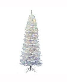 Vickerman 6.5 ft White Salem Pencil Pine Artificial Christmas Tree With 250 Multi-Colored Led Lights