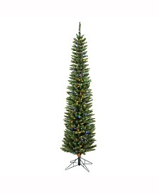 Vickerman 6.5 ft Durham Pole Pine Artificial Christmas Tree With 200 Multi-Colored Led Lights