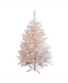 Vickerman 3.5 ft Sparkle White Spruce Artificial Christmas Tree With 150 Clear Lights