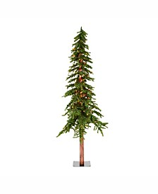 Vickerman 7 ft Natural Alpine Artificial Christmas Tree With 300 Multi-Colored Lights