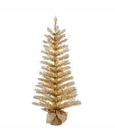Vickerman 48 inch Champagne Tinsel Artificial Christmas Tree With 100 Clear Lights