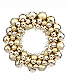 "Vickerman 12"" Gold Shiny/Matte Ball Wreath"