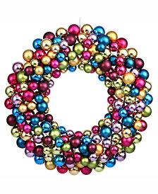 """Vickerman 36"""" Multi-Colored Shiny/Matte Ball Wreath"""