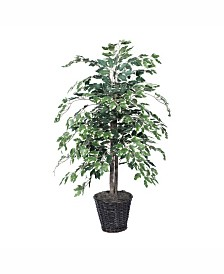Vickerman 4' Artificial Variegated Ficus Bush, Made With Real Tag Alder Trunks