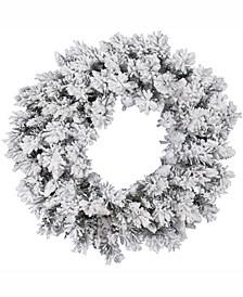 30 inch Flocked Snow Ridge Artificial Christmas Wreath Unlit