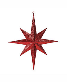 "Vickerman 15.75"" Red Iridescent Glitter Bethlehem Star Christmas Ornament"