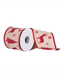 "Vickerman 4"" Natural Jute With Red Deer Christmas Ribbon"