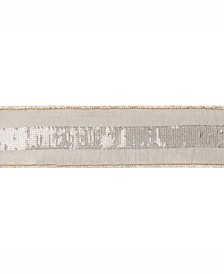 """2.5"""" Sage Dupion With Gold Sequin Stripe Christmas Ribbon"""
