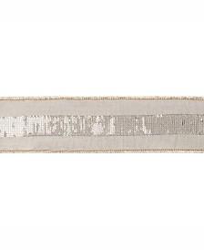 "Vickerman 2.5"" Sage Dupion With Gold Sequin Stripe Christmas Ribbon"