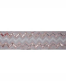 """4"""" Taupe Dupion With Rose And Gold Sequin Chevron Christmas Ribbon"""