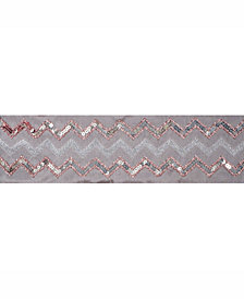 "Vickerman 4"" Taupe Dupion With Rose And Gold Sequin Chevron Christmas Ribbon"