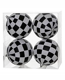"""Vickerman 4.7"""" Black-White Checker Glitter Ball Christmas Ornament"""