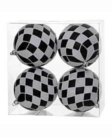 """4.7"""" Black-White Diamond Glitt Ball Ornament 4 Per Box"""