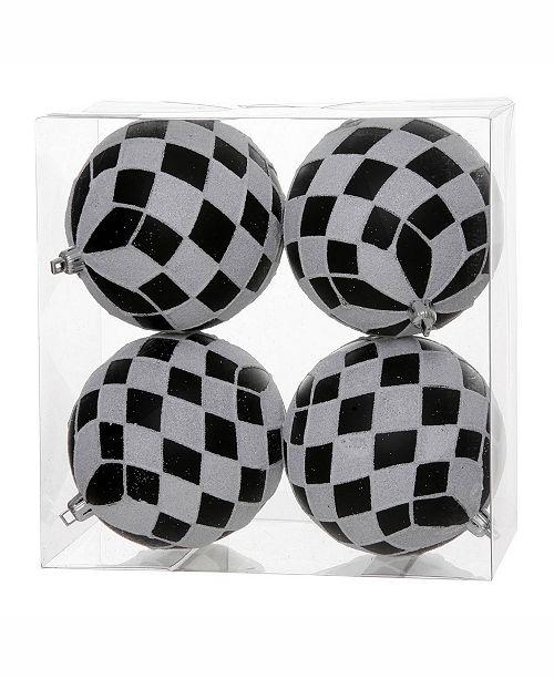 """Vickerman 4.7"""" Black-White Diamond Glitt Ball Ornament 4 Per Box"""