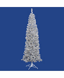 Vickerman 6.5 ft Silver Pencil Artificial Christmas Tree With 300 Warm White Led Lights