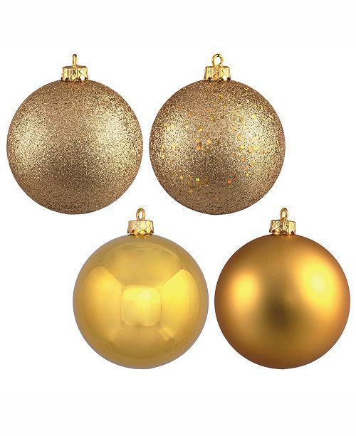 "Vickerman 10"" Gold 4-Finish Ball Christmas Ornament, 4 Per Bag"