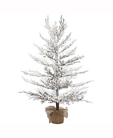 4 ft X 30 inch Flocked Winter Twig Pine Artificialchristmas Tree