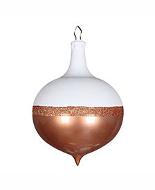 "Vickerman 12"" Rose Gold Candy/White Glitter Drop Ornament"