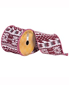 """4"""" X 10Yd Red, White And Silver Tapestry Jacquard Ribbon"""