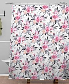 Iveta Abolina Snow Rose Shower Curtain