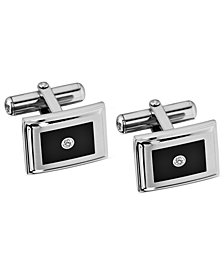 Stainless Steel Cuff Links, Diamond Accent and Black Enamel Cuff Links