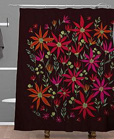Deny Designs Iveta Abolina Poinsettia Ruby Shower Curtain
