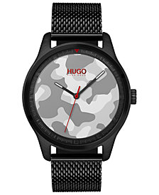 HUGO Men's #Move Black Ion-Plated Stainless Steel Mesh Bracelet Watch 42mm