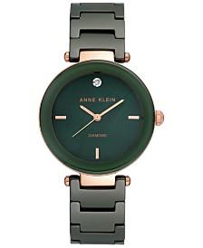 Anne Klein Women's Diamond-Accent Green Ceramic Bracelet Watch 33mm