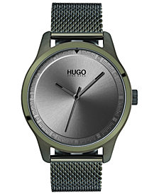HUGO Men's #Move Olive Ion-Plated Stainless Steel Mesh Bracelet Watch 42mm