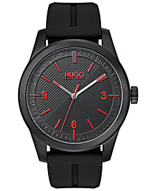 HUGO Men's #Create Black Rubber Strap Watch 40mm