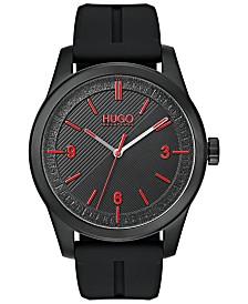 HUGO Men's #Create Black Rubber Strap Watch 40mm