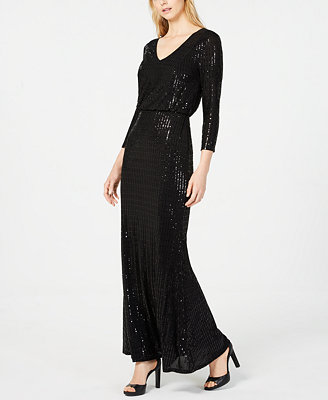 Sequined V Neck Gown by Calvin Klein