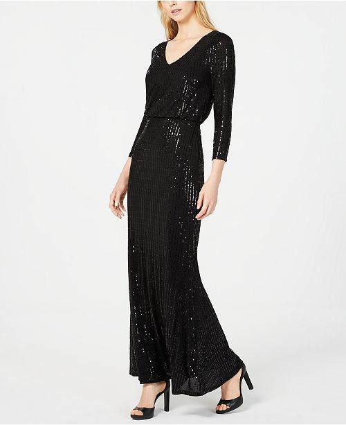 cc4aeb23bc01 Calvin Klein Sequined V-Neck Gown   Reviews - Dresses - Women - Macy s