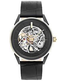 Kenneth Cole New York Men's Automatic Black Leather Strap Watch 42mm