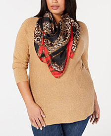 I.N.C. Chain & Animal-Print Square Scarf, Created for Macy's