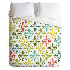 Deny Designs Heather Dutton Holly Go Lightly White Twin Duvet Set